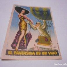 Cine: PROGRAMA O FOLLETO DE CINE SIN PUBLICIDAD - EL FANTASMA ES UN VIVO - 10. Lote 186434695