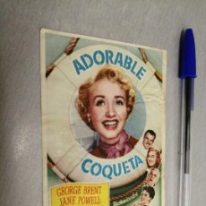 Cine: ADORABLE COQUETA / GEORGE BRENT - JANE POWELL / PUBLICIDAD CENTRAL CINEMA. Lote 187192095