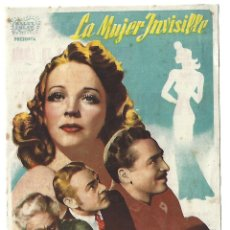 Cine: LA MUJER INVISIBLE - PROGRAMA DE CINE BADALONA 1943 C/P. Lote 187378450