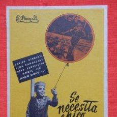 Cine: SE NECESITA CHICO, IMPECABLE SENCILLO ORIGINAL, JAVIER CEBRIAN, SIN PUBLI. Lote 187378815