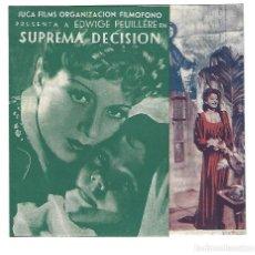 Cine: SUPREMA DECISIÓN - PROGRAMA DE CINE DOBLE C/P 1942. Lote 187379070