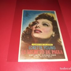 Cine: EL SECRETO DE PAULA. AÑO 1952.SIN PUBLICIDAD. Lote 187379691