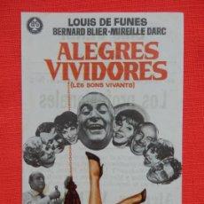Cine: ALEGRES VIVIDORES, IMPECABLE SENCILLO, LOUIS DE FUNES, C/PUBLI CINE VERDI 1970. Lote 187380750