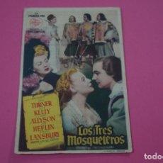 Foglietti di film di film antichi di cinema: FOLLETO DE MANO PROGRAMA DE CINE LOS TRES MOSQUETEROS CON PUBLICIDAD LOTE 25. Lote 187388708