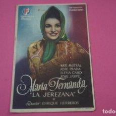 Cine: FOLLETO DE MANO PROGRAMA DE CINE LA JEREZANA CON PUBLICIDAD LOTE 26. Lote 187391967