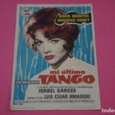 Cine: FOLLETO DE MANO PROGRAMA DE CINE MI ULTIMO TANGO CON PUBLICIDAD LOTE 26. Lote 187392205