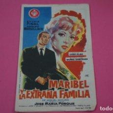 Cine: FOLLETO DE MANO PROGRAMA DE CINE MARIBEL Y LA EXTRAÑA FAMILIA CON PUBLICIDAD LOTE 26. Lote 187392486