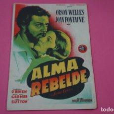 Cine: FOLLETO DE MANO PROGRAMA DE CINE ALMA REBELDE CON PUBLICIDAD LOTE 26. Lote 187392635