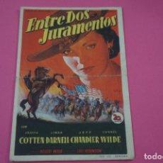 Cine: FOLLETO DE MANO PROGRAMA DE CINE ENTRE DOS JURAMENTOS CON PUBLICIDAD LOTE 26. Lote 187392672