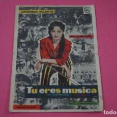 Cine: FOLLETO DE MANO PROGRAMA DE CINE TU ERES MUSICA CON PUBLICIDAD LOTE 26. Lote 187392762