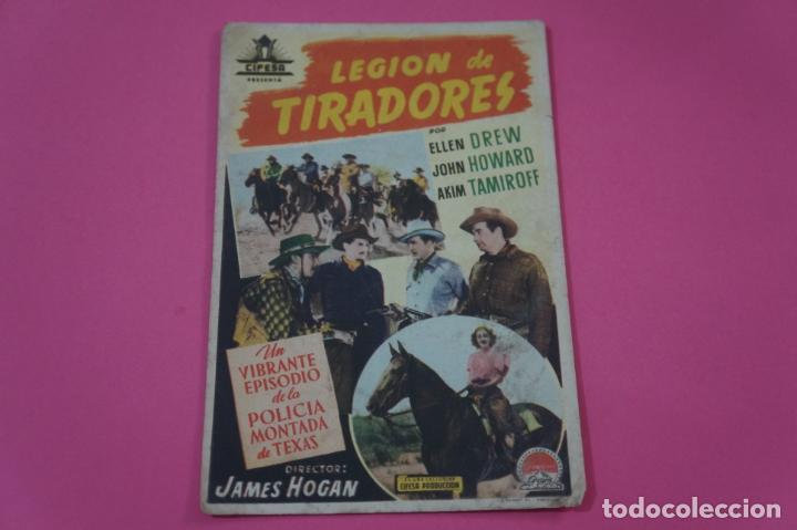 FOLLETO DE MANO PROGRAMA DE CINE LEGION DE TIRADORES CON PUBLICIDAD LOTE 26 (Cine - Folletos de Mano - Documentales)