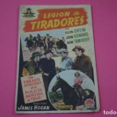 Flyers Publicitaires de films Anciens: FOLLETO DE MANO PROGRAMA DE CINE LEGION DE TIRADORES CON PUBLICIDAD LOTE 26. Lote 187392976