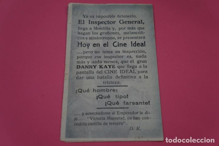 Cine: FOLLETO DE MANO PROGRAMA DE CINE DANNY KAYE CON PUBLICIDAD LOTE 26 - Foto 3 - 187393000
