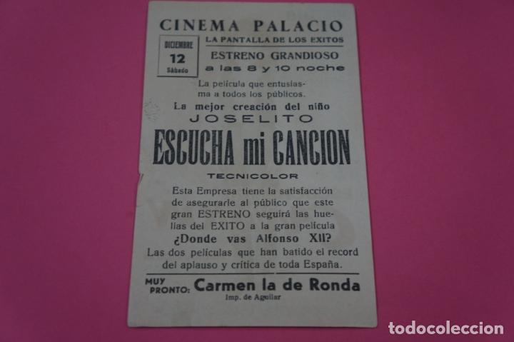 Cine: FOLLETO DE MANO PROGRAMA DE CINE ESCUCHA MI CANCION CON PUBLICIDAD LOTE 26 - Foto 2 - 187393198