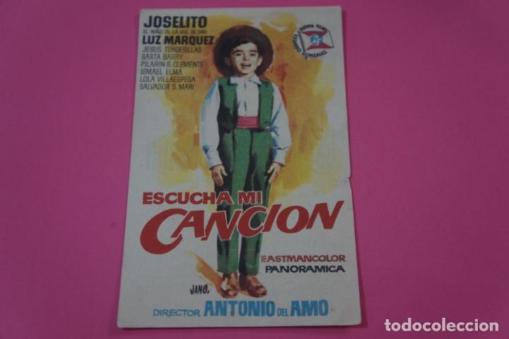 FOLLETO DE MANO PROGRAMA DE CINE ESCUCHA MI CANCION CON PUBLICIDAD LOTE 26 (Cine - Folletos de Mano - Documentales)