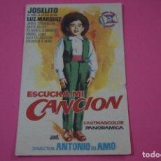 Flyers Publicitaires de films Anciens: FOLLETO DE MANO PROGRAMA DE CINE ESCUCHA MI CANCION CON PUBLICIDAD LOTE 26. Lote 187393198