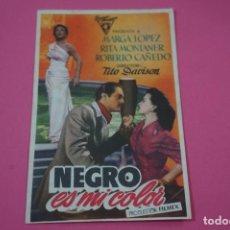 Cine: FOLLETO DE MANO PROGRAMA DE CINE NEGRO ES MI COLOR CON PUBLICIDAD LOTE 26. Lote 187395946