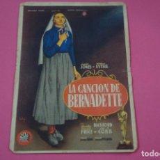 Cine: FOLLETO DE MANO PROGRAMA DE CINE LA CANCION DE BERNADETTE CON PUBLICIDAD LOTE 26. Lote 187396347