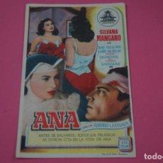 Cine: FOLLETO DE MANO PROGRAMA DE CINE ANA CON PUBLICIDAD LOTE 26. Lote 187396446