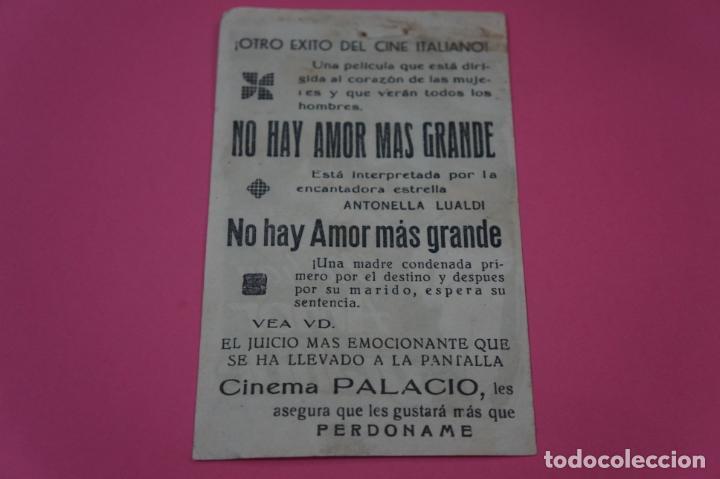Cine: FOLLETO DE MANO PROGRAMA DE CINE NO HAY AMOR MAS GRANDE CON PUBLICIDAD LOTE 26 - Foto 2 - 187396473