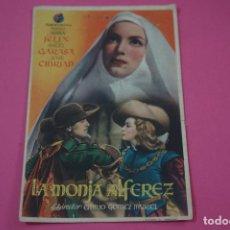 Cine: FOLLETO DE MANO PROGRAMA DE CINE LA MONJA ALFEREZ CON PUBLICIDAD LOTE 26. Lote 187396550