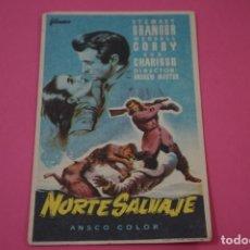 Cine: FOLLETO DE MANO PROGRAMA DE CINE NORTE SALVAJE CON PUBLICIDAD LOTE 26. Lote 187396692