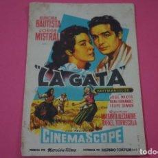 Cine: FOLLETO DE MANO PROGRAMA DE CINE LA GATA CON PUBLICIDAD LOTE 26. Lote 187396710