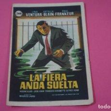 Cine: FOLLETO DE MANO PROGRAMA DE CINE LA FIERA ANDA SUELTA CON PUBLICIDAD LOTE 26. Lote 187396790