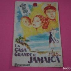 Cine: FOLLETO DE MANO PROGRAMA DE CINE LA CASA DE JAMAICA CON PUBLICIDAD LOTE 26. Lote 187396805
