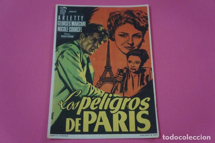 FOLLETO DE MANO PROGRAMA DE CINE LOS PELIGROS DE PARIS CON PUBLICIDAD LOTE 26 (Cine - Folletos de Mano - Aventura)