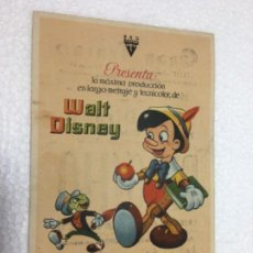 Cine: FOLLETO DE MANO ORIGINAL PINOCHO WALT DISNEY R80. Lote 187480188
