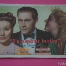 Cine: FOLLETO DE MANO PROGRAMA DE CINE UN ESPIRITU BURLON SIN PUBLICIDAD LOTE 27 MIRAR FOTO. Lote 187528090