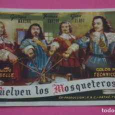 Cine: FOLLETO DE MANO PROGRAMA DE CINE VUELVEN LOS MOSQUETEROS SIN PUBLICIDAD LOTE 27 MIRAR FOTO. Lote 187528337