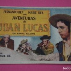 Cine: FOLLETO DE MANO PROGRAMA DE CINE AVENTURAS DE JUAN LUCAS SIN PUBLICIDAD LOTE 27 MIRAR FOTO. Lote 187529936