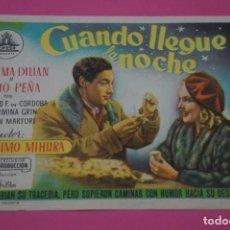 Cine: FOLLETO DE MANO PROGRAMA DE CINE CUANDO LLEGUE LA NOCHE SIN PUBLICIDAD LOTE 27 MIRAR FOTO. Lote 187530420