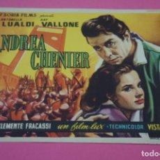 Cine: FOLLETO DE MANO PROGRAMA DE CINE ANDREA CHENIER SIN PUBLICIDAD LOTE 27 MIRAR FOTO. Lote 187530702
