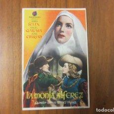 Cine: PROGRAMA DE CINE FOLLETO DE MANO-LA MONJA ALFEREZ-AÑOS 40-50 SIN PUBLICIDAD. Lote 187569762