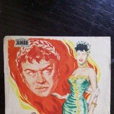 Cine: PROGRAMA DE MANO ORIGINAL - OKAY NERON - PUBLICIDAD CINE SAGALES - 1953.. Lote 187615605