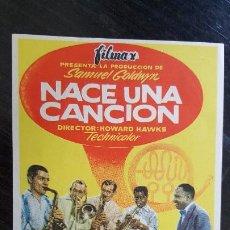 Cine: PROGRAMA DE MANO - NACE UNA CANCIÓN - CINE CARDENIO.. Lote 187617430
