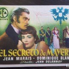 Cine: EL SECRETO DE MAYERLING - PROGRAMA DE CINE. SIN PUBLICIDAD. MUY BUENO.. Lote 187621162