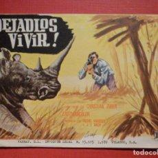 Cine: FOLLETO MANO, PROGRAMA - DEJADLOS VIVIR - SIN PUBLICIDAD. Lote 188570507