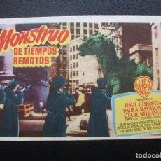 Flyers Publicitaires de films Anciens: EL MONSTRUO DE TIEMPOS REMOTOS, TEATRO BELLAS ARTES DE IRUN, 1954. Lote 188816730
