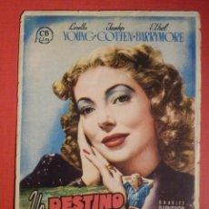 Cine: FOLLETO DE MANO - PELICULA - FILM - UN DESTINO DE MUJER - 1948 - SIN PUBLICIDAD . Lote 189128086