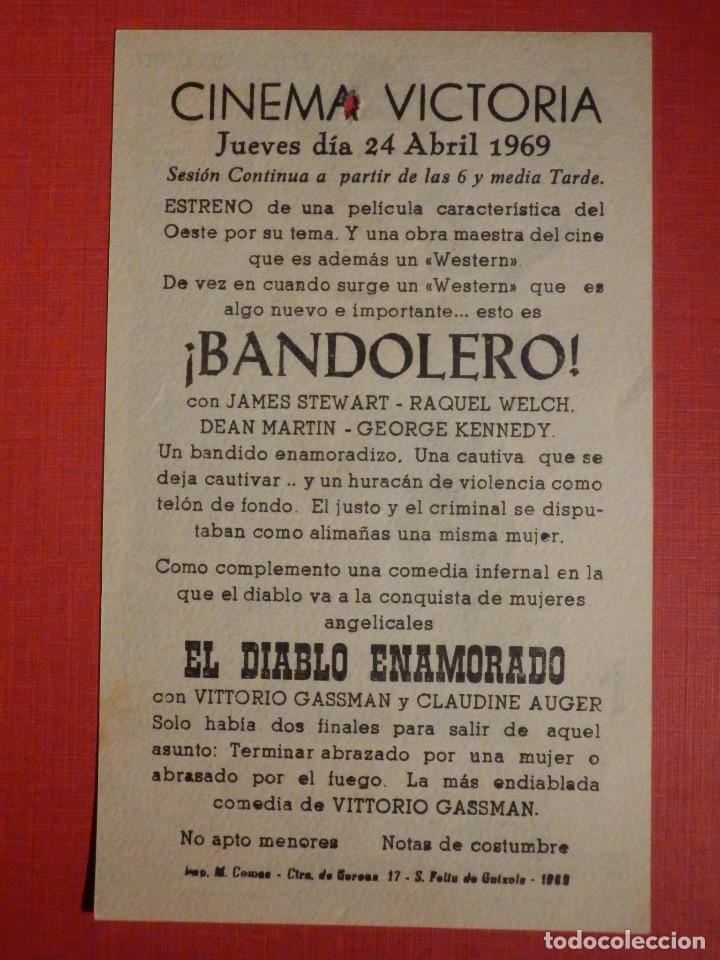 Cine: Folleto de Mano - Pelicula - Film - ¡Bandolero! - Cinema Victoria 24 de Abril de 1969 - Foto 2 - 189128241