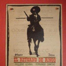 Cine: FOLLETO DE MANO - PELICULA - FILM - EL RETORNO DE RINGO - CINEMA VICTORIA 18 DE ENERO DE 1968. Lote 189128406