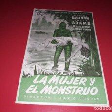 Cine: FOLLETO GRANDE LA MUJER Y EL MONSTRUO. SIN PUBLICIDAD. AÑO 1954.. Lote 189245001