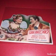 Cine: FOLLETO TROQUELADO SAN ANTONIO CON ERROL FLYNN. AÑO 1945.. Lote 189247138