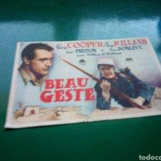 Cine: PROGRAMA DE CINE SIMPLE. BEAU GESTE. IDEAL CINEMA DE ALICANTE. Lote 189682627