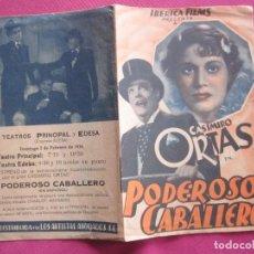 Cine: PODEROSO CABALLERO CASIMIRO ORTAS PROGRAMA CINE DOBLE C16. Lote 189974961