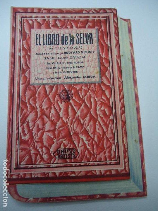 EL LIBRO DE LA SELVA 19 DE OCTUBRE DE 1944 CON PUBLICIDAD DEL CINE ATENEO SAMBOYANO DOBLE TROQUELAD (Cine - Folletos de Mano - Infantil)